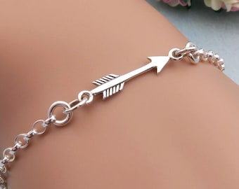 Silver Arrow Bracelet, Sideways Arrow, Sterling Silver, Arrow Jewelry, Gift For Her, Archery Jewelry, Sterling Arrow