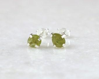 Peridot Pebble Stud Earrings - August Birthstone