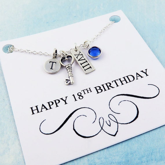 Personalized 18th Birthday Necklace Initial Custom: 18th Birthday Necklace Personalized Birthday Gift 18 Gift