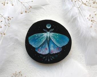 Midnight Garden Moth | Original Painting on wood