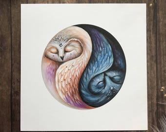 Yin Yang Owl 5 x 5 Square Art Print | Owl Art