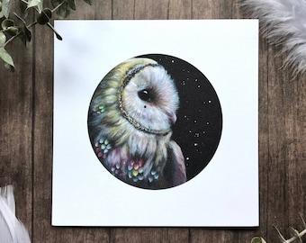 Wondering Barn Owl from Owls that Wonder Collection 5x5 Art Print | Owl Art