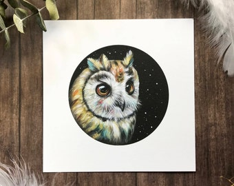 Wondering Striped Owl from Owls that Wonder Collection 5x5 Art Print | Owl Art