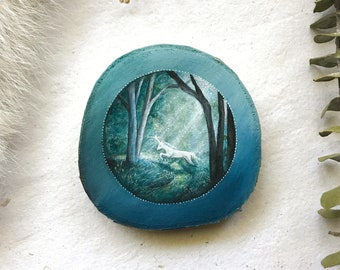 OOAK Mini Unicorn in the Forest | Unicorn Collection | Original Painting on wood