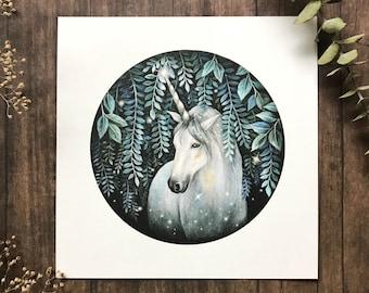 The Unicorn 6x6 Print | Unicorn art print