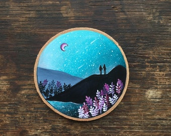 Scarlet Fern and Mountains with Lovers // Mountain art // Orginal Painting on wood