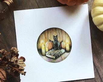 "Binx and Book Print | Hocus Pocus Print 5.25"" | Halloween Art"