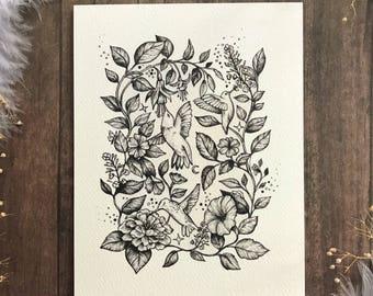 Hummingbirds and Florals A2 Art Print | Moon Phase Art | Moon Wall Art
