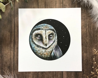 Wondering Sooty Owl from Owls that Wonder Collection 5x5 Art Print | Owl Art
