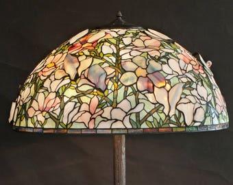 Tiffany replica, Tiffany lamp, Lobby lamp, Floor lamp, Magnolia Lamp, Entryway lamp, Office lamp, Bespoke glass, Stained glass lamp, Design