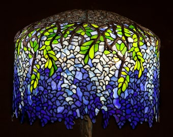 Stained Glass Lamp, Bespoke Glass, Tiffany Lamp, Tiffany Wisteria, Icon Lamp, Table Lamp, Bedside Lamp, Office Lamps, Restaurant Lamps