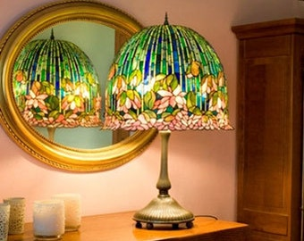 Table Lamp, Stained Glass Lamp, Bespoke Glass, Tiffany Lamp, Lotus Lamp, Tiffany Replica, Stained Glass