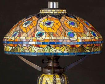 Peacock Mosaic Lamp, Stained Glass Lamp, Tiffany Lamp, Oil Lamps, Peacock Lamp, Bespoke Glass, Lamp, Table Lamp, Desk Lamp, Peacock lamp