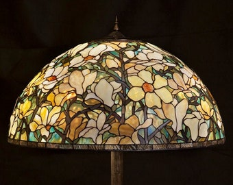 Leaded glass table lamp, torchiere lamp
