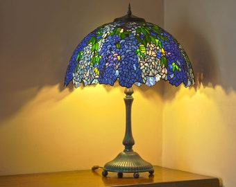 Stained Glass Art, Tiffany Lamp, Lampshade, Table Lamp, Stained Glass Table Lamp, Bedside Lamp, Stained Glass Shade, Laburnum Lamp
