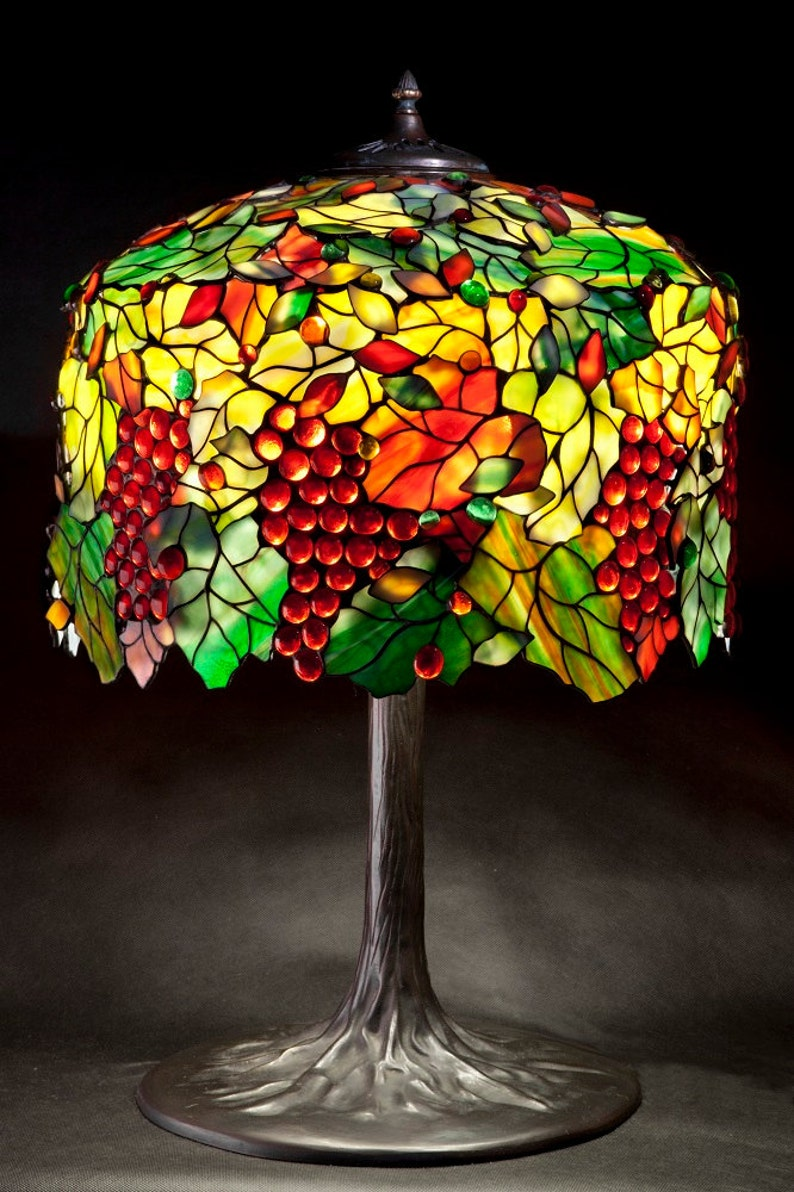 Weinrebe Baum Gebeizt Glasmalerei Glas Lampe Tiffany