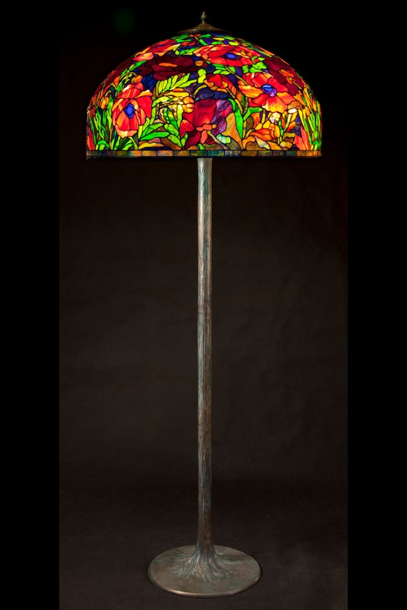 Tiffany Floor Lamp Stained Glass Lamp Bedroom Light Tiffany Lamp Oriental Poppy Lamp Stained Glass Designer Lamp Tiffany Style Lamp