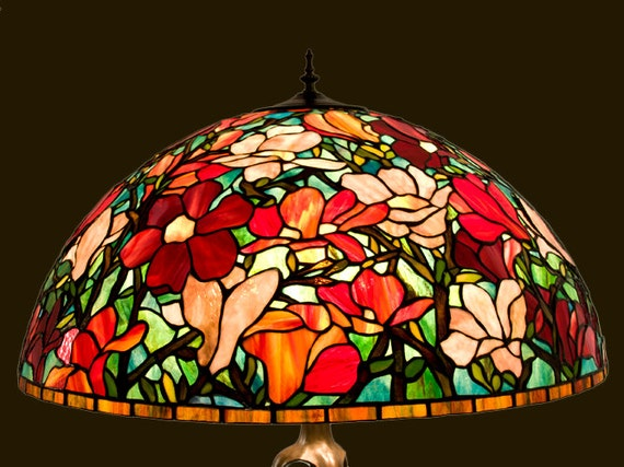 Stained Glass Shade, Lamp Shade, Bespoke Glass, Tiffany Lamp, Magnolia Tiffany, Stained Glass, Floor Lamp, Table Lamp, Bedside Lamp, Decor