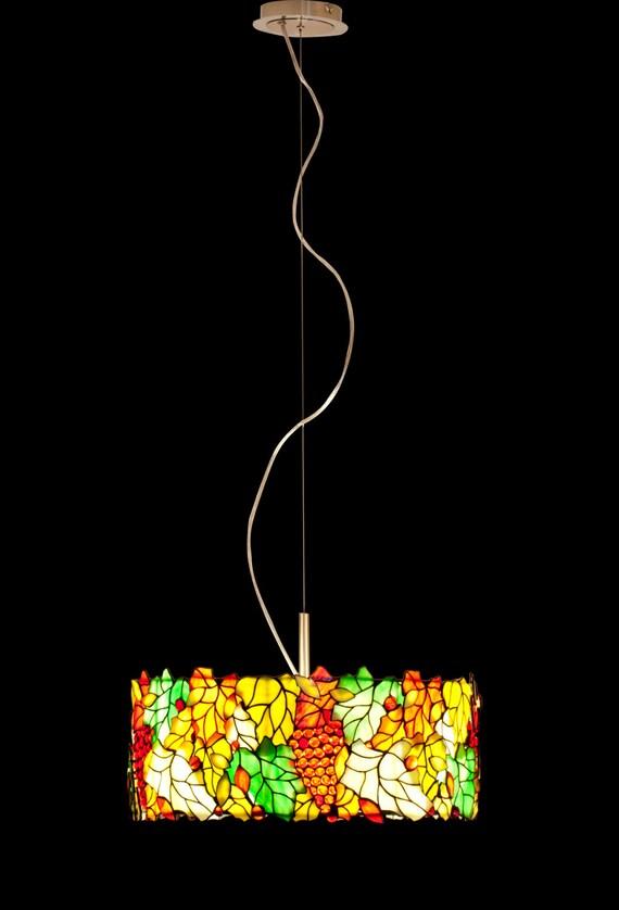Trommel Lampenschirm Leichte Glasanhänger Kronleuchter | Etsy