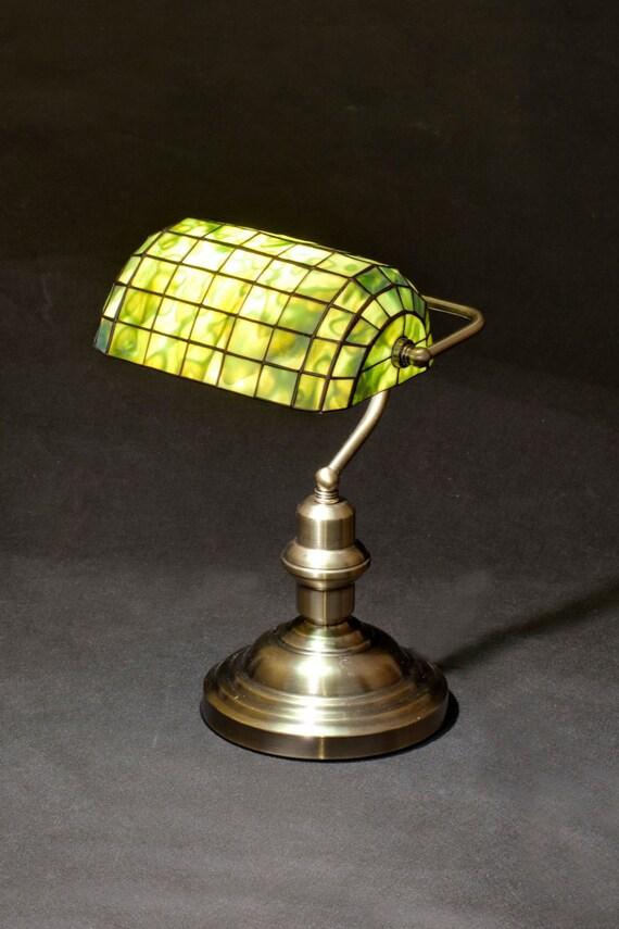 Banker Lampe Bibliothek Lampe Messinglampe Glasmalerei Lampe Etsy