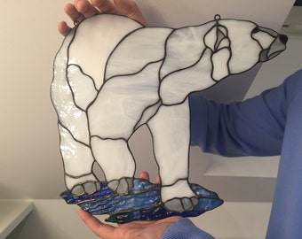 Stained glass polar bear Tiffany glass window suncatcher