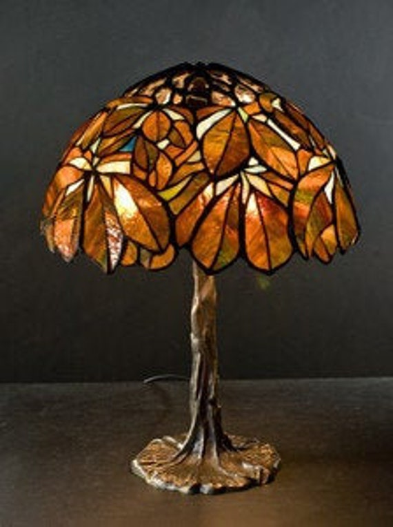Tiffany Brown Chestnut Small Lamp Original Stained Glass Etsy