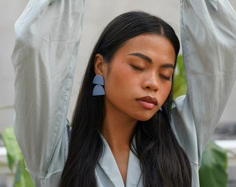 Double Half Moon – Light Blue Lightweight Clay Earrings for Modern Women with Style – available in clip-on, made in Philly
