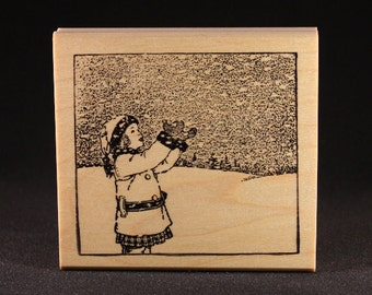 "Girl Catching Snowflakes Ruber Art Stamp (3.48"" x 3.6"")"