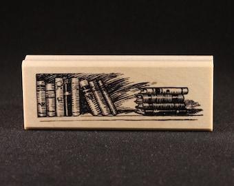 "Books Rubber Art Stamp (1.06"" x 3.56"")"