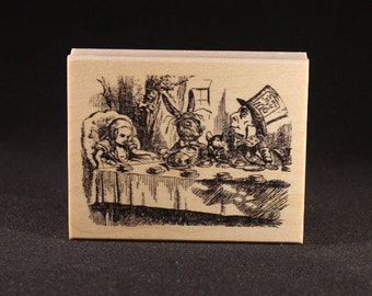 """Mad Tea Party Rubber Art Stamp (3.5"""" x 2.5"""")"""