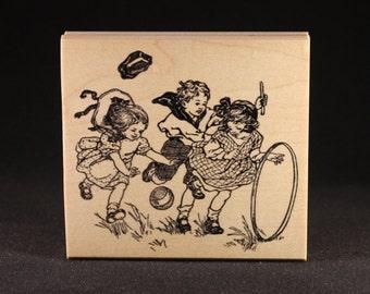 "Children Playing 2 Rubber Art Stamp (3.87"" x 3.7"")"