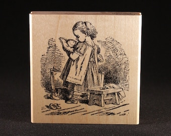 """Girl With Doll Rubber Art Stamp (3"""" x 3"""")"""