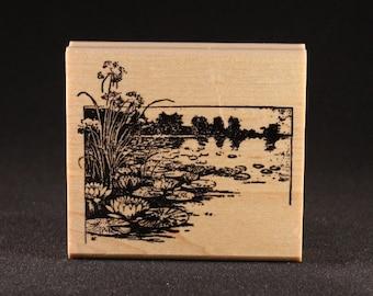 "Pond 2 Rubber Art Stamp (3"" x 2.7"")"