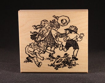"Children Playing Rubber Art Stamp (4"" x 3.6"")"