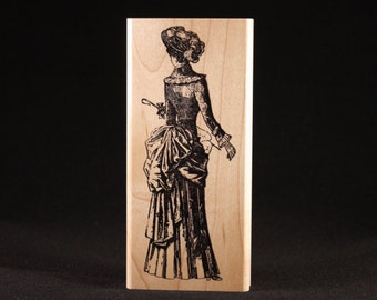 """Lady Strolling 2 Rubber Art Stamp (2"""" x 4.75"""")"""