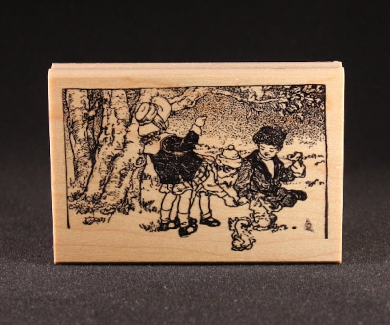 Children Feeding Squirrels Rubber Art Stamp 3.7 x image 0