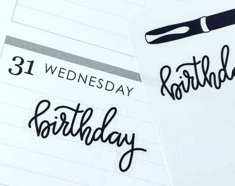 Birthday {Hand-lettered Clear Matte} Planner Stickers