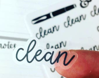 Cleaning {Hand-lettered Clear Matte} Planner Stickers