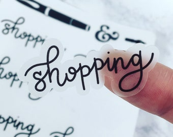 Shopping {Hand-lettered Clear Matte} Planner Stickers