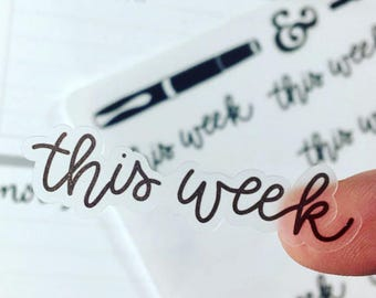 This Week {Hand-lettered Clear Matte} Planner Stickers