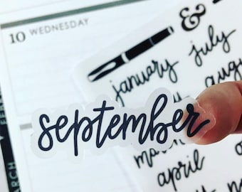 Months of the Year {Hand-lettered Clear Matte} Planner Stickers