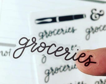Groceries {Hand-lettered Clear Matte} Planner Stickers