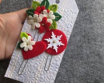 Set of 3 staples/bookmarks in felt: heart, bouquet and snowflake; Planner clips; Christmas Gift; Stocking Stuffers