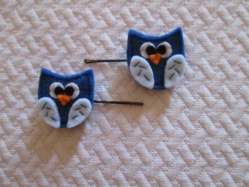 aaaee3e0c7 Set di due forcine con gufi blu in feltro Fermagli per | Etsy