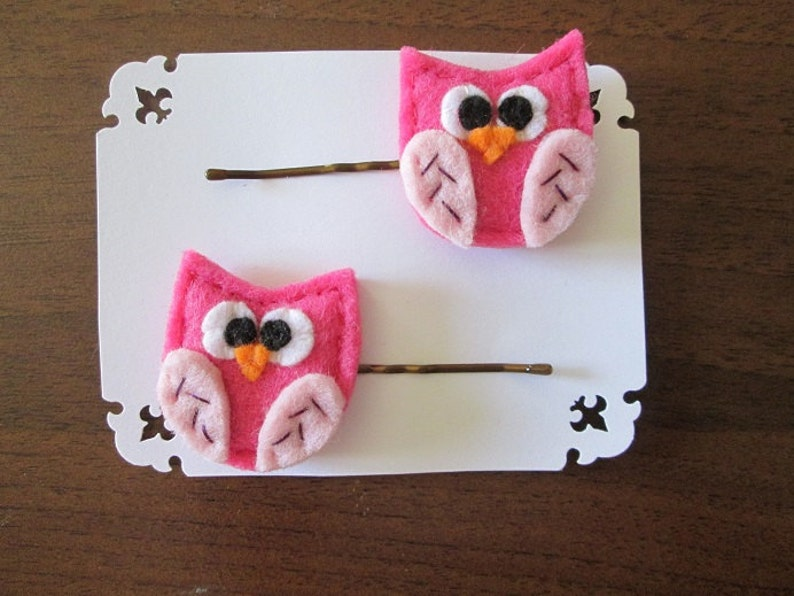 89b77acbdf Set di due forcine con gufi rosa in feltro Fermagli per | Etsy