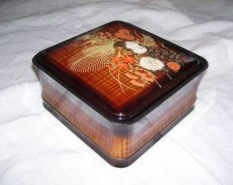 Otagiri Black Lacquer Round Trinket Dish Japanese Storage with Lid Jewelry Box