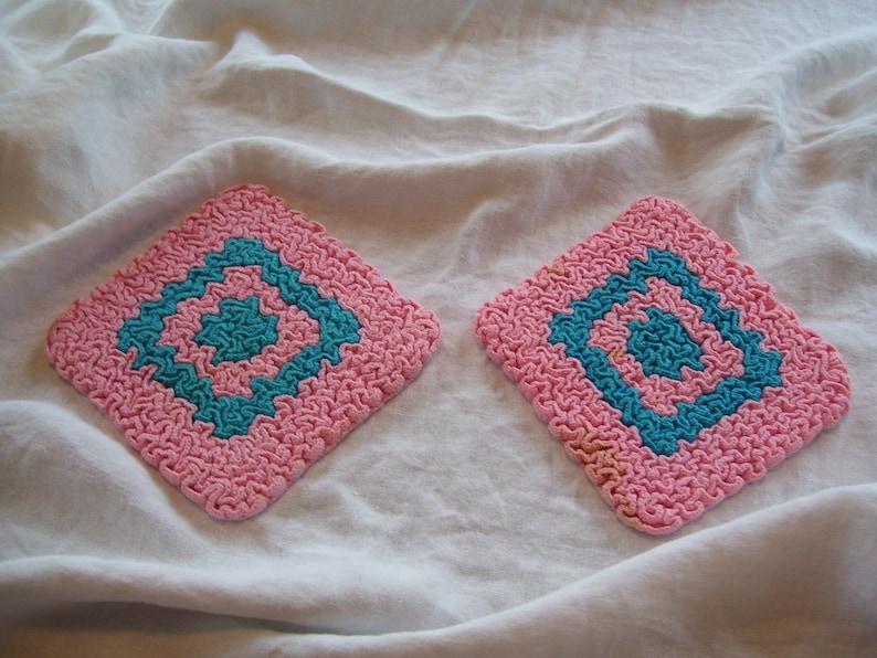 Pink Pot Holder  Crocheted Pot Holders Pink and Aqua  Set of 2 CLEAN  Vintage