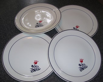 Johnson Brothers Eton by Mary Quant Dinner Plates Set of 4 80s Vintage