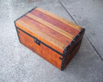 Antique Wood Trunk  Metal Trim  Fabric Lined  13x13x24 Vintage
