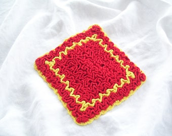 Red and Yellow Crocheted Pot Holder Vintage